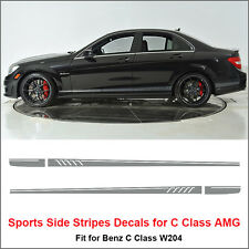 507 Side Stripes Decals Vinyl Sticker for Benz W204 C Class AMG Matt Silver Grey