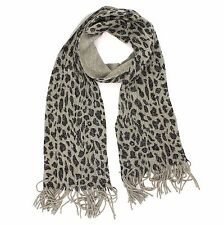 Croft & Barrow Sparkling Gray Animal Print Scarf for Women Fringed Ends