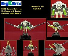 LEGO Star Wars GENERAL GRIEVOUS Minifigure, w/ Custom Cape, & 4 Lightsabers 9515