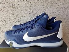 Nike Kobe X TB Midnight Navy Metallic Silver White 813030-401 Size 15 Half Box