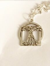 Leonardo Da Vinci The Vitruvian Man Silver Necklace