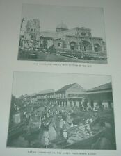 1899 Antique Print NEW CATHEDRAL MANILA & COMMERCE UPPER PASIG RIVER LUZON