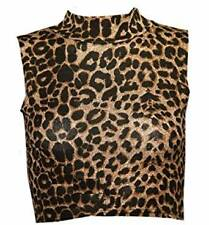 LADIES SLEEVELESS POLO TURTLE NECK CROP TOP WOMEN PRINTED VEST STRETCHY TOP 8-14