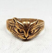 Vintage / Unusual Gold Gilt Moulded Engraved Cat Head Statement Ring / Size S
