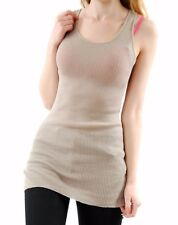 Hamish Morrow Women's Cotton Knit Vest Sleeveless Stone Size M BCF511