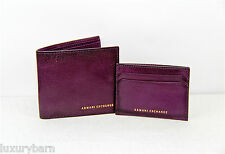 ARMANI EXCHANGE A|X 100% LEATHER  WALLET 8 CC 2 PAPER AND 4CC CREDIT CARD HOLDER