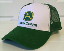 John Deere Green & White Fabric & Mesh Hat Cap with Vintage Logo Snapback