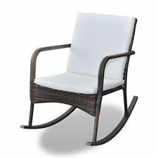 Outdoor Wicker Rattan Rocking Chair Patio Furniture Garden Poolside Seat Brown