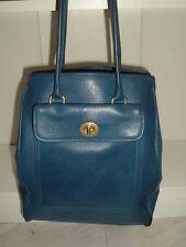 Vintage COACH Blue Leather Shoulder Bag RARE SHOULDER BAG HOBO 9714 Tote Pockets