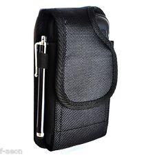 Black Rugged Nylon Pouch Belt Clip For Samsung Galaxy S5 SV w/Heavy Duty Case On