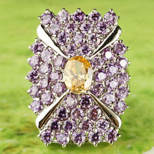 Beautiful Fashion Morganite & Amethyst Gemstone Silver Cocktail Band Ring Size 9