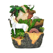 White Horse Pigeon Palm Tree Basin Brick Indoor Tabletop Water Fountain Fall