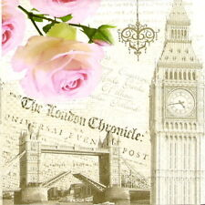 """4x Single Table Paper Napkins for Party, Decoupage, Craft """"Vintage London"""