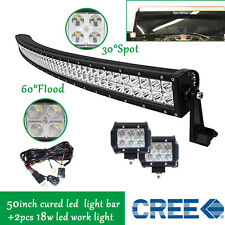 "50inch Curved LED Light Bar + 2X CREE 18W 3"" Led Work Light Pods Off Road Truck"