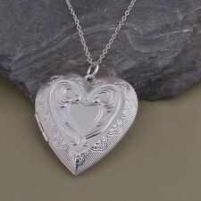 "925 Sterling Silver 1.5"" Heart Photo Locket Pendant  Necklace 18"" Chain"