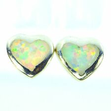 VIVID WHITE OPAL HEART STUD EARRINGS STERLING SILVER ROUND SOUTHWESTERN JEWELRY
