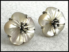 VINTAGE .925 Sterling Silver & Mother Of Pearl Decorative Flower Earrings, Posts