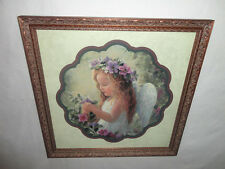 Home Interiors ''Angel Girl w/ Flowers '' Picture Gorgeous  17''x 17''