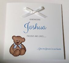Personalised Baby Boy Remembrance Card Sympathy Loss Of Baby, Child