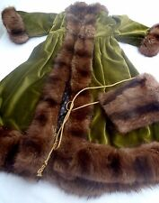 Dolls Girls Edwardian Fur Trim Velvet Coat Muffler Antique Doll Clothes Fashion