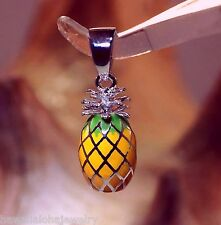 8mm Hawaiian Rhodium Over Sterling Silver 2/3rd Shell Enameled Pineapple Pendant