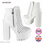 NEW CHUNKY WHITE HIGH HEEL PLATFORMS ANKLE CLEATED WOMENS LADIES BLOCK PUNK BOOT