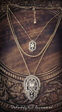 Stunning art deco Gatsby white crystal cluster multi chain statement necklace