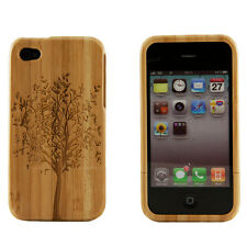 Apple iPhone 4 4S 4G Genuine Natural Bamboo Wood Engraved Tree Hard Case Cover