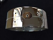"Gretsch 70s Vintage 14"" Chrome over Brass Snare Drum Shell 8 Lug w/ Badge!"