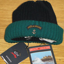 New Paul&Shark Yachting Contrast Ribbed Beanie in Blue and Green 100% Wool WOW!!
