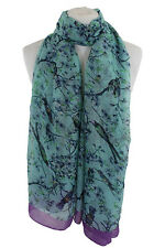 Ladies Scarves Mint Japanese Bird Print  Shawl Sarong Wrap Free Fast Delivery**