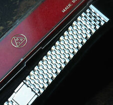 Beads Monaco link stainless steel 2-pc clasp NSA watch band Swiss 19mm 1960s/70s