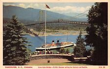 VANCOUVER BC CANADIAN PACIFIC RAILROAD STEAMER~LIONS GATE BRIDGE POSTCARD 1951