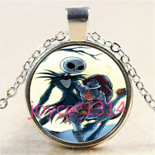 Nightmare Before Christmas Cabochon silver Glass Chain Pendant Necklace %3051