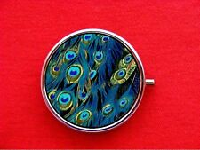 PEACOCK FEATHERS BLUE BIRD VINTAGE ROUND METAL PILL MINT BOX
