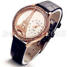 Paris Eiffel Tower Rhinestone Quartz Analog Ladies Wrist Watch Leather Band+Bag