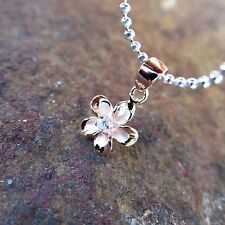 8mm Pink Gold Shiny Plumeria Hawaiian Genuine Silver Pendant Necklace #SP90479