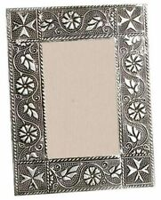 Handmade Metal Picture / Photo Frame with Embossed Floral Patterns. Fair Trade