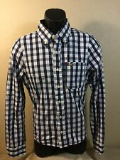 HOLLISTER mens L/S 100% Cotton Blue Plaid Button Down Shirt size S EUC