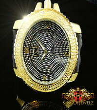 MEN'S ICED OUT YELLOW GOLD FINISH ICE NATION LAB DIAMOND SIMULATE  WATCH