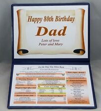SPECIAL 80TH BIRTHDAY PERSONALISED GIFT - THE DAY YOU WERE BORN - IDEAL KEEPSAKE