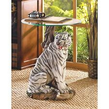 "LARGE 24"" white tiger jungle cat statue glass top end table bedside night stand"