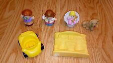 Fisher Price Little People Family Mom Dad Baby Dog Bed & Car Lot A