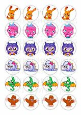 24 MOSHI MONSTER TOPPERS ICED/ ICING EDIBLE FAIRY/CUP CAKE  TOPPERS