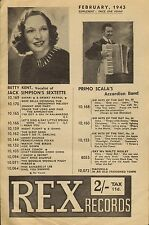 REX RECORDS CATALOGUE SUPPLEMENT 1943 02 FEBRUARY betty kent/primo scala/etc