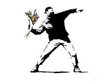 Poster for new Banksy Street Art Canvas Silk Fabric Cloth 17x13 Decor 02