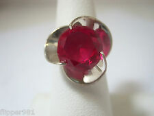 TAXCO Cherry RED  Ring Vintage Mexico Sterling Silver Size 7 or  8