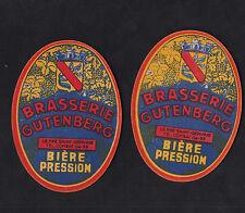 2 Anciennes étiquettes    Alcool  France Bière  BN10195 Brasserie Gutenberg