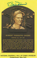 BOB DOERR SIGNED COOPERSTOWN BASE BALL HALL OF FAME PLAQUE CARD BOSTON RED SOX
