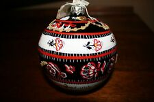 New Hand Painted Christmas Ornament Glass Poland Vintage Style Round Ball sale